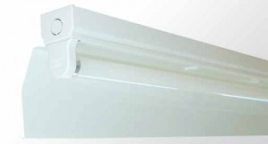 Angle Reflector Batten - Single Tube With White Powder Coated Metal Reflector