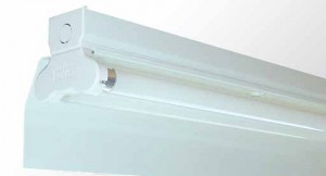 Angle Reflector Batten - Twin Tube With White Powder Coated Metal Reflector