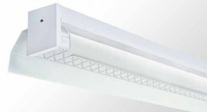Industrial Reflector Batten - Single Tube With White Powder Coated Industrial Metal Reflector And Wire Guard