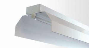 Industrial Reflector Batten - Single Tube With White Powder Coated Industrial Metal Reflector