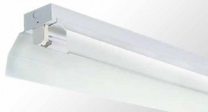 Industrial Reflector Batten - Single Tube With White Powder Coated Metal Reflector