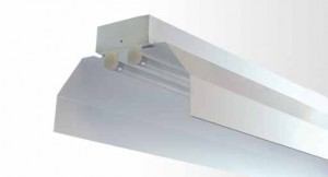 Industrial Reflector Batten - Twin Tube With White Powder Coated Industrial Metal Reflector