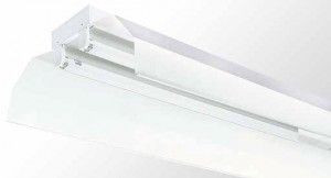Industrial Reflector Batten - Twin Tube With White Powder Coated Metal Reflector