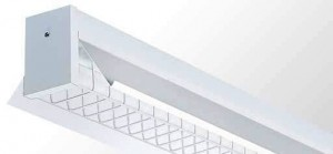 Reflector Batten - Single Tube With White Powder Coated Metal Reflector And Wire Guard