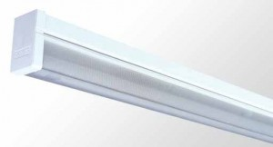Square Diffused Batten - Single Tube With Reeded Acrylic Diffuser