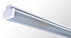 Square Diffused Batten - Twin Tube With Reeded Acrylic Diffuser