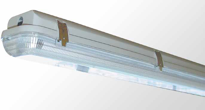 Weatherproof Diffused - Single And Twin Tube With Clear Pattern Polycarbonate Diffuser
